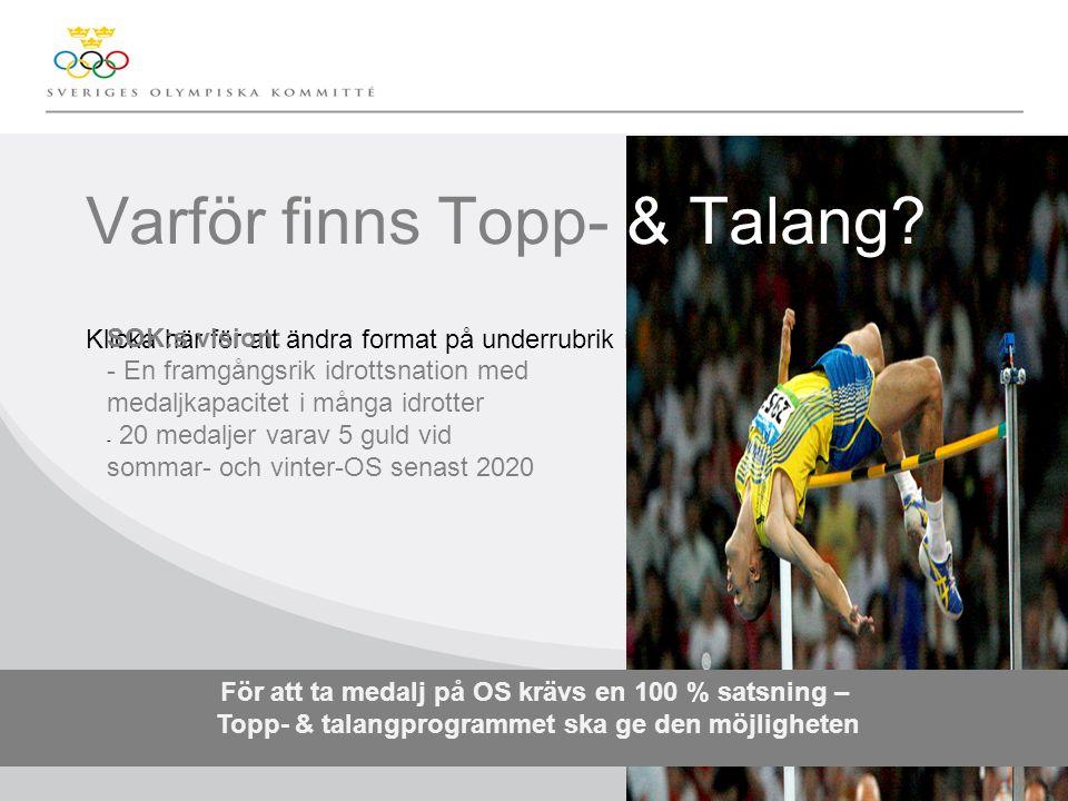 Klicka här för att ändra format på underrubrik i bakgrunden Varför finns Topp- & Talang.