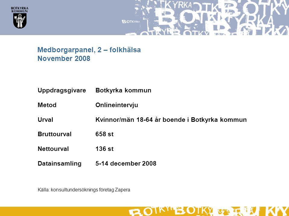 Medborgarpanel, 2 – folkhälsa November 2008 UppdragsgivareBotkyrka kommun MetodOnlineintervju Urval Kvinnor/män 18-64 år boende i Botkyrka kommun Bruttourval658 st Nettourval136 st Datainsamling5-14 december 2008 Källa: konsultundersöknings företag Zapera