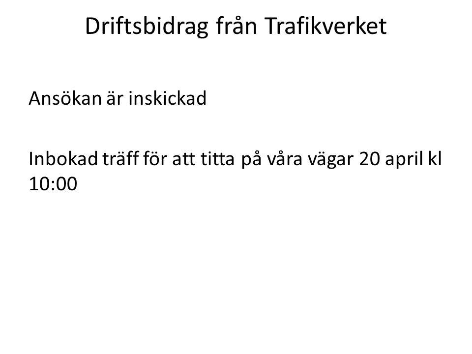 Driftsbidrag från Trafikverket Ansökan är inskickad Inbokad träff för att titta på våra vägar 20 april kl 10:00