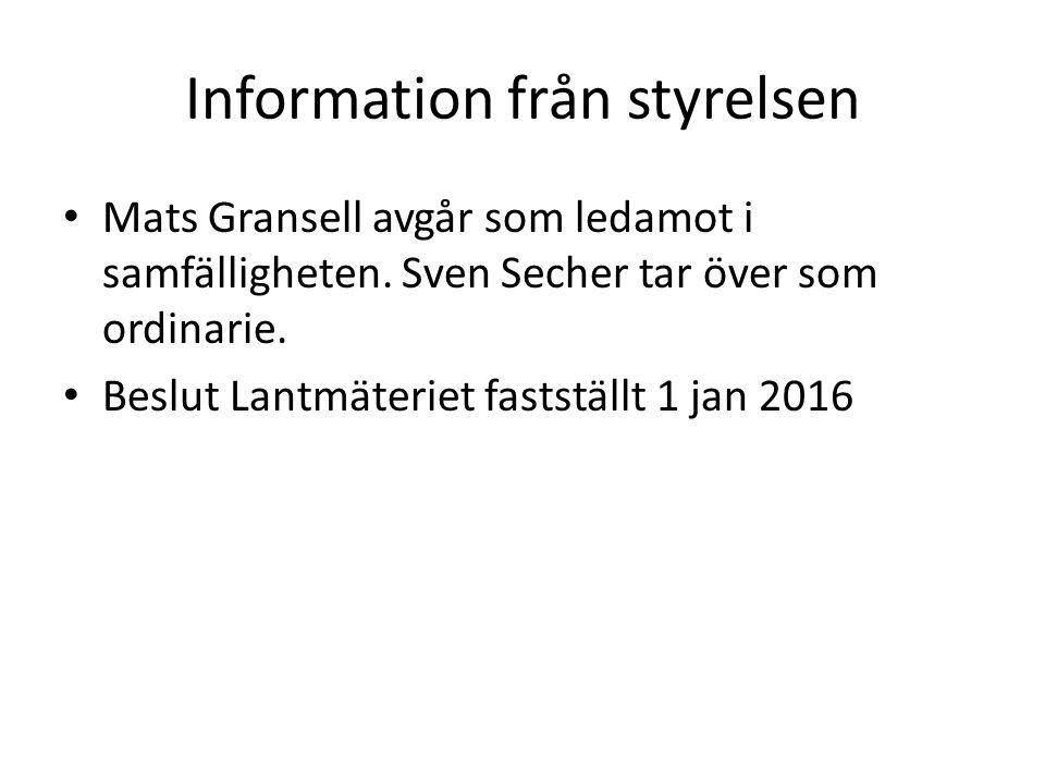 Information från styrelsen Mats Gransell avgår som ledamot i samfälligheten. Sven Secher tar över som ordinarie. Beslut Lantmäteriet fastställt 1 jan