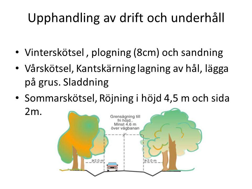 Upphandling av drift och underhåll Vinterskötsel, plogning (8cm) och sandning Vårskötsel, Kantskärning lagning av hål, lägga på grus.