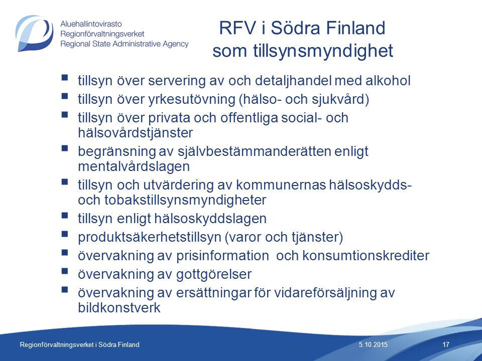 Regionförvaltningsverket i Södra Finland  tillsyn över servering av och detaljhandel med alkohol  tillsyn över yrkesutövning (hälso- och sjukvård)  tillsyn över privata och offentliga social- och hälsovårdstjänster  begränsning av självbestämmanderätten enligt mentalvårdslagen  tillsyn och utvärdering av kommunernas hälsoskydds- och tobakstillsynsmyndigheter  tillsyn enligt hälsoskyddslagen  produktsäkerhetstillsyn (varor och tjänster)  övervakning av prisinformation och konsumtionskrediter  övervakning av gottgörelser  övervakning av ersättningar för vidareförsäljning av bildkonstverk RFV i Södra Finland som tillsynsmyndighet 5.10.201517
