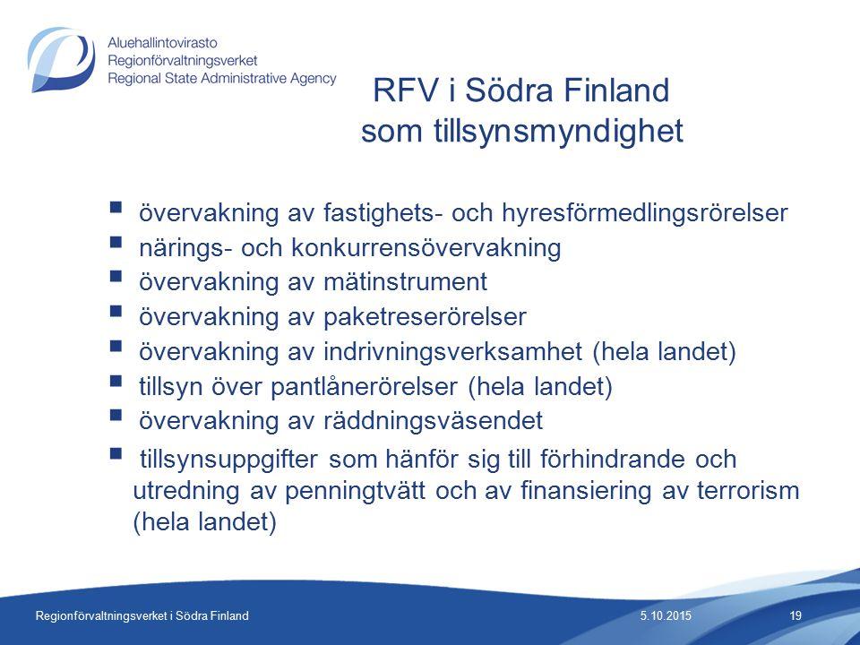 Regionförvaltningsverket i Södra Finland  övervakning av fastighets- och hyresförmedlingsrörelser  närings- och konkurrensövervakning  övervakning av mätinstrument  övervakning av paketreserörelser  övervakning av indrivningsverksamhet (hela landet)  tillsyn över pantlånerörelser (hela landet)  övervakning av räddningsväsendet  tillsynsuppgifter som hänför sig till förhindrande och utredning av penningtvätt och av finansiering av terrorism (hela landet) RFV i Södra Finland som tillsynsmyndighet 5.10.201519