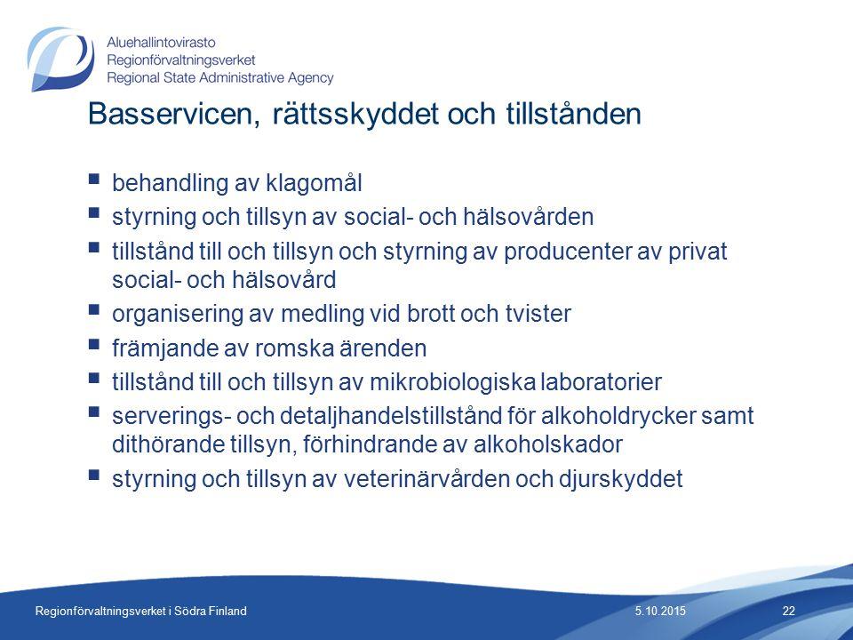 Regionförvaltningsverket i Södra Finland  behandling av klagomål  styrning och tillsyn av social- och hälsovården  tillstånd till och tillsyn och styrning av producenter av privat social- och hälsovård  organisering av medling vid brott och tvister  främjande av romska ärenden  tillstånd till och tillsyn av mikrobiologiska laboratorier  serverings- och detaljhandelstillstånd för alkoholdrycker samt dithörande tillsyn, förhindrande av alkoholskador  styrning och tillsyn av veterinärvården och djurskyddet Basservicen, rättsskyddet och tillstånden 5.10.201522