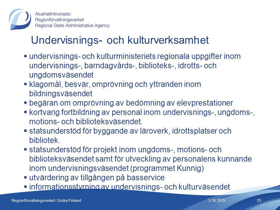 Regionförvaltningsverket i Södra Finland Undervisnings- och kulturverksamhet  undervisnings- och kulturministeriets regionala uppgifter inom undervisnings-, barndagvårds-, biblioteks-, idrotts- och ungdomsväsendet  klagomål, besvär, omprövning och yttranden inom bildningsväsendet  begäran om omprövning av bedömning av elevprestationer  kortvarig fortbildning av personal inom undervisnings-, ungdoms-, motions- och biblioteksväsendet.