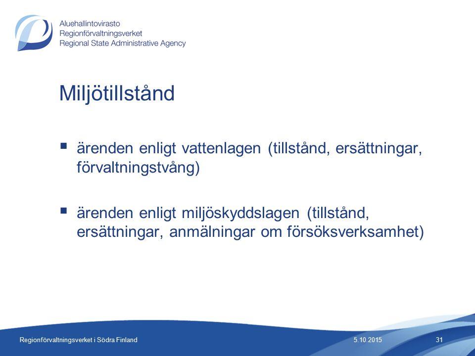 Regionförvaltningsverket i Södra Finland  ärenden enligt vattenlagen (tillstånd, ersättningar, förvaltningstvång)  ärenden enligt miljöskyddslagen (tillstånd, ersättningar, anmälningar om försöksverksamhet) Miljötillstånd 5.10.201531