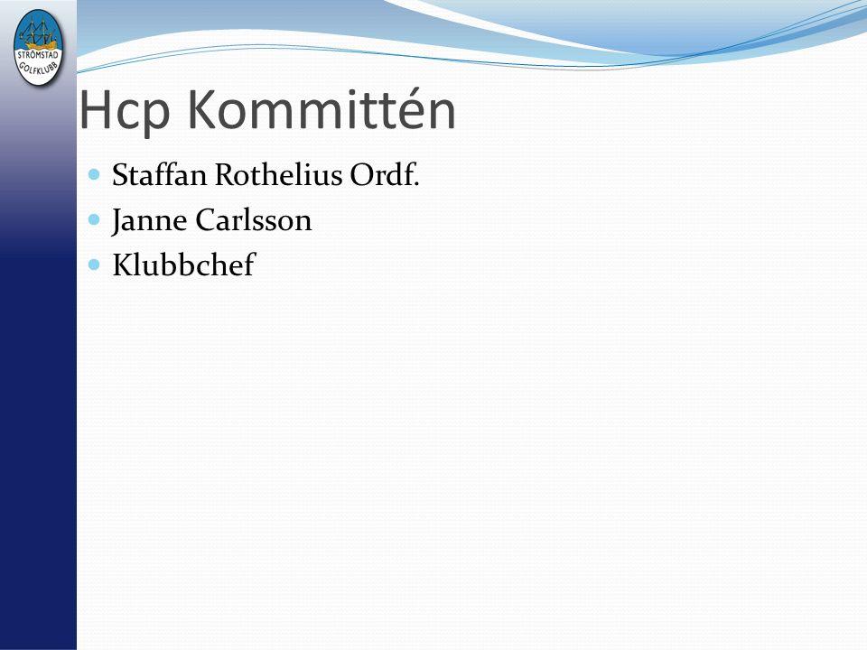 Hcp Kommittén Staffan Rothelius Ordf. Janne Carlsson Klubbchef