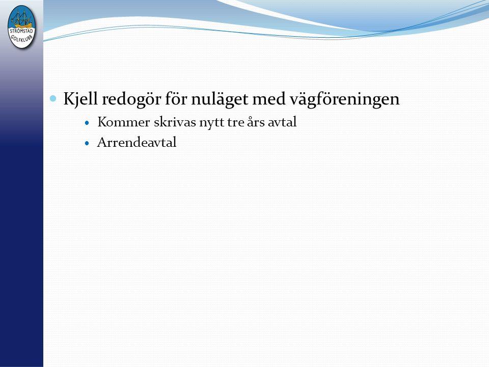 Kjell redogör för nuläget med vägföreningen Kommer skrivas nytt tre års avtal Arrendeavtal