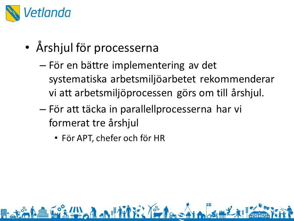 Årshjul för processerna – För en bättre implementering av det systematiska arbetsmiljöarbetet rekommenderar vi att arbetsmiljöprocessen görs om till årshjul.