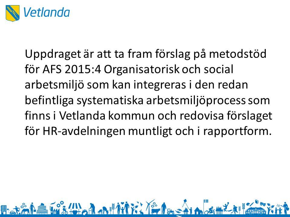 Kartläggning – Arbetsmiljöprocess – Handlingsplan – Checklista för skyddsrond – Samverkansavtal – Plan för att förebygga och hantera trakasserier, sexuella trakasserier och kränkande särbehandling – Vetlanda kommuns arbetsmaterial utifrån AFS 2015:4 – Rekommendationer för APT – Arbetsmiljö – organisation och delegering i Vetlanda kommun – Medarbetarundersökning 2015 – Personalpolicy Intervju med Martin Hedström, HR-konsult Genomgång av AFS 2015:4 – Nyheter från föregående Genomgång av Arbetsmiljöverkets vägledning till AFS 2015:4