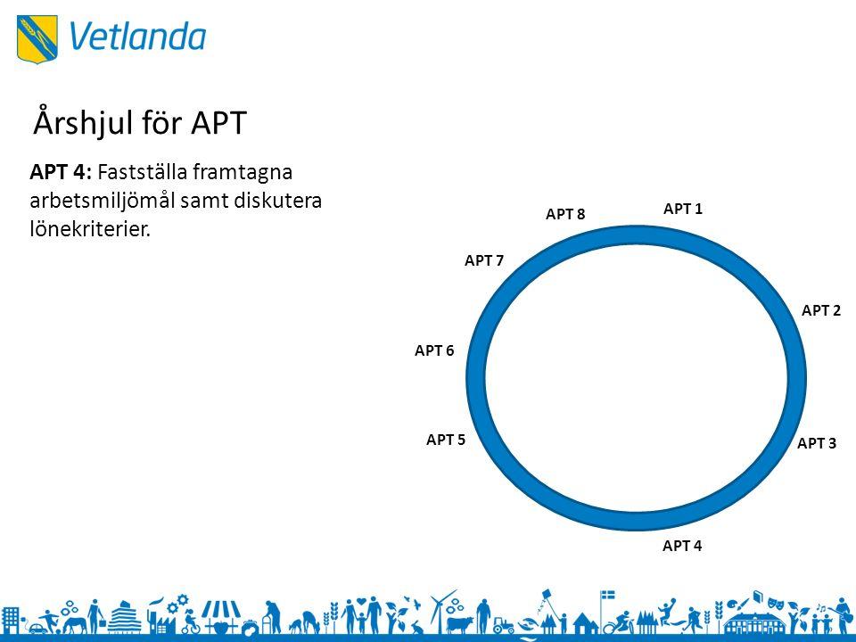 APT 1 APT 3 APT 2 APT 4 APT 5 APT 6 APT 7 APT 8 APT 4: Fastställa framtagna arbetsmiljömål samt diskutera lönekriterier.