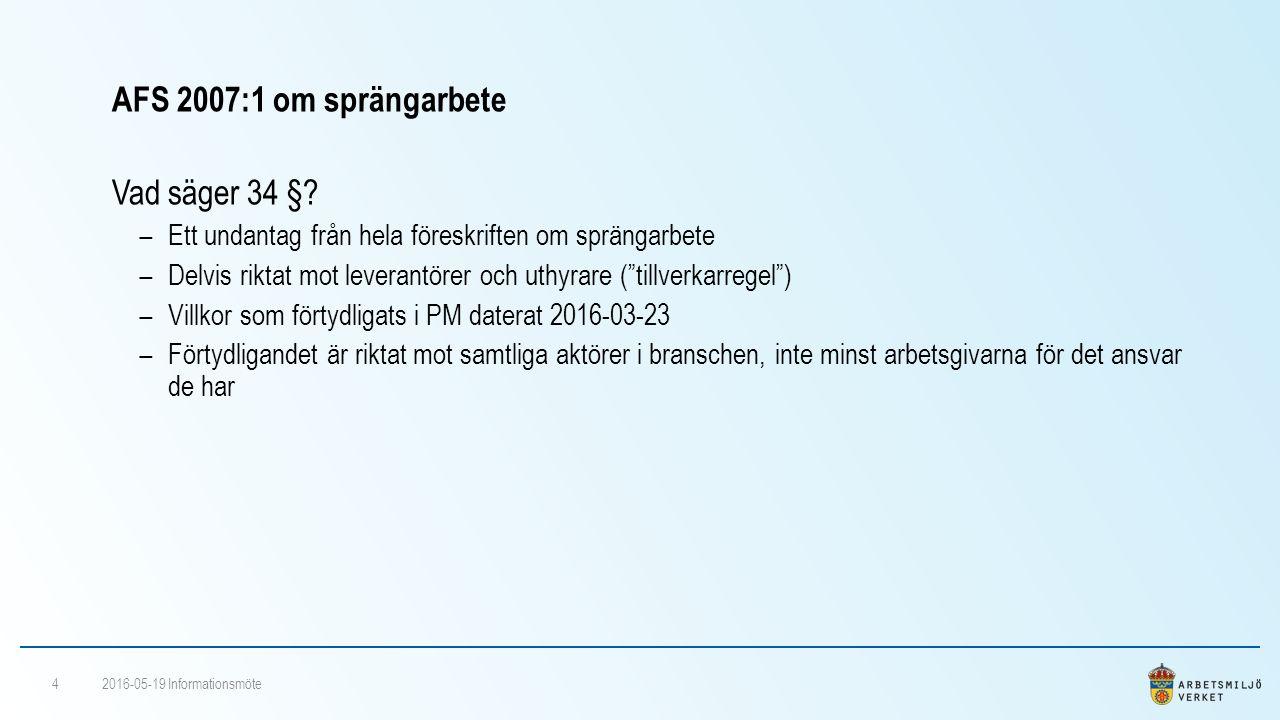 AFS 2007:1 om sprängarbete Vad säger 34 §.