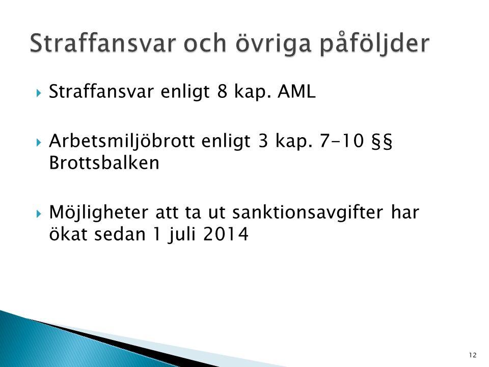  Straffansvar enligt 8 kap. AML  Arbetsmiljöbrott enligt 3 kap. 7-10 §§ Brottsbalken  Möjligheter att ta ut sanktionsavgifter har ökat sedan 1 juli