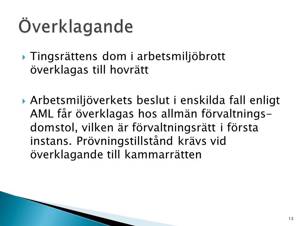  Tingsrättens dom i arbetsmiljöbrott överklagas till hovrätt  Arbetsmiljöverkets beslut i enskilda fall enligt AML får överklagas hos allmän förvalt
