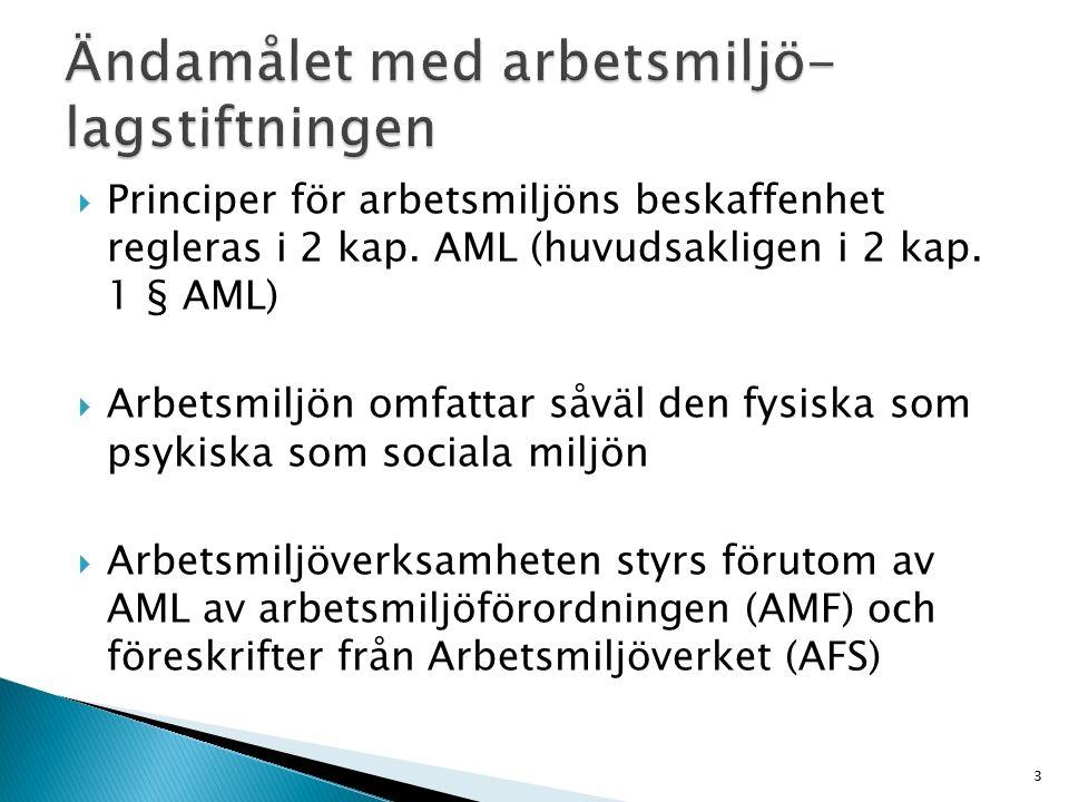  Principer för arbetsmiljöns beskaffenhet regleras i 2 kap. AML (huvudsakligen i 2 kap. 1 § AML)  Arbetsmiljön omfattar såväl den fysiska som psykis