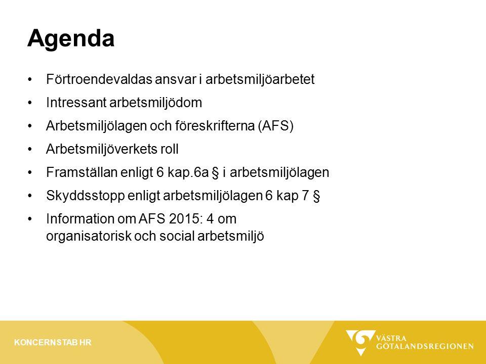 Agenda Förtroendevaldas ansvar i arbetsmiljöarbetet Intressant arbetsmiljödom Arbetsmiljölagen och föreskrifterna (AFS) Arbetsmiljöverkets roll Framställan enligt 6 kap.6a § i arbetsmiljölagen Skyddsstopp enligt arbetsmiljölagen 6 kap 7 § Information om AFS 2015: 4 om organisatorisk och social arbetsmiljö KONCERNSTAB HR