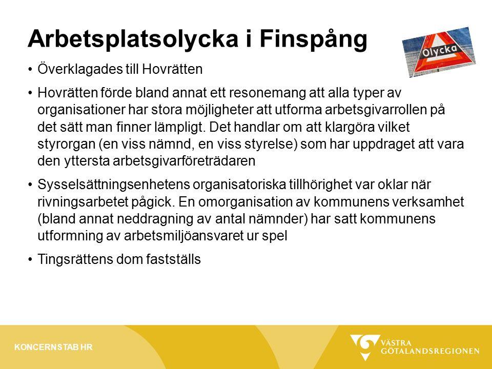Arbetsplatsolycka i Finspång Överklagades till Hovrätten Hovrätten förde bland annat ett resonemang att alla typer av organisationer har stora möjligheter att utforma arbetsgivarrollen på det sätt man finner lämpligt.