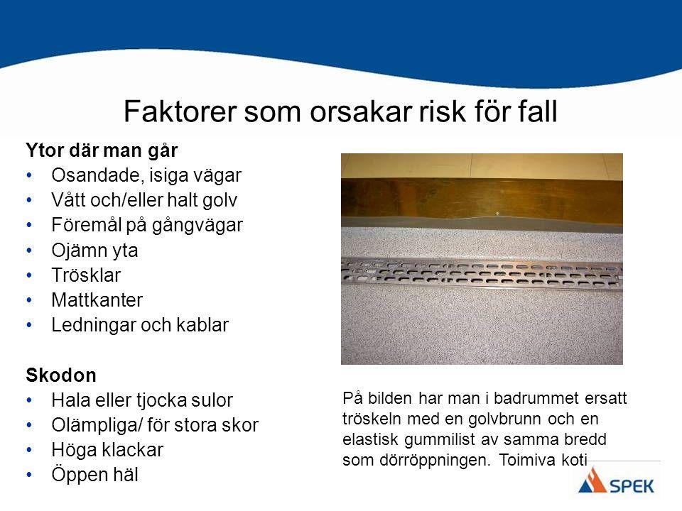 Faktorer som orsakar risk för fall Ytor där man går Osandade, isiga vägar Vått och/eller halt golv Föremål på gångvägar Ojämn yta Trösklar Mattkanter