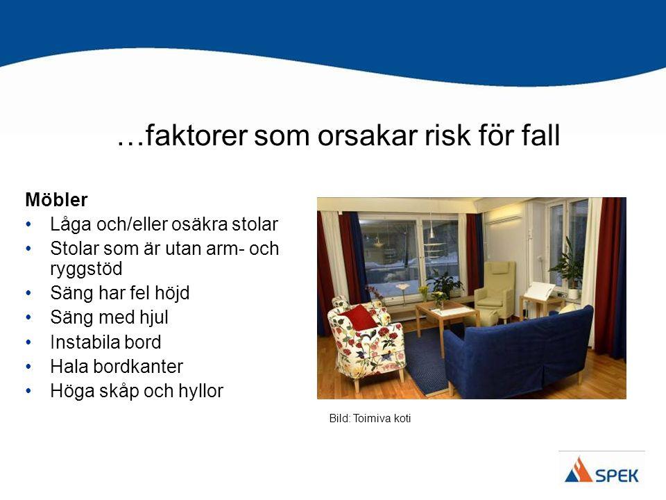 …faktorer som orsakar risk för fall Möbler Låga och/eller osäkra stolar Stolar som är utan arm- och ryggstöd Säng har fel höjd Säng med hjul Instabila