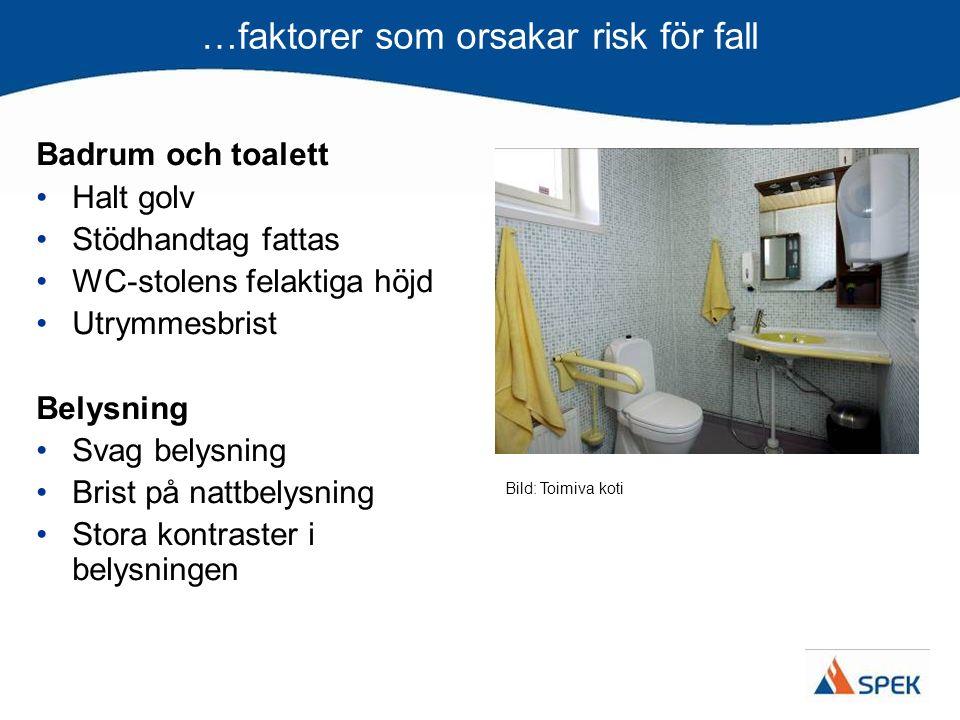 …faktorer som orsakar risk för fall Badrum och toalett Halt golv Stödhandtag fattas WC-stolens felaktiga höjd Utrymmesbrist Belysning Svag belysning B