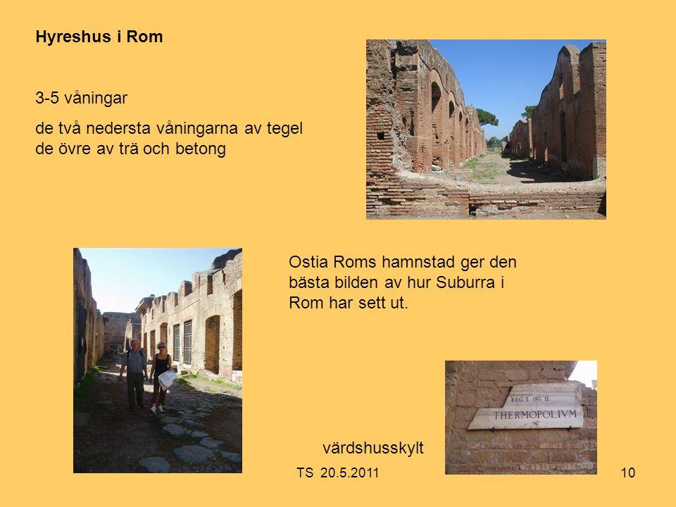 10 Hyreshus i Rom 3-5 våningar de två nedersta våningarna av tegel de övre av trä och betong Ostia Roms hamnstad ger den bästa bilden av hur Suburra i Rom har sett ut.