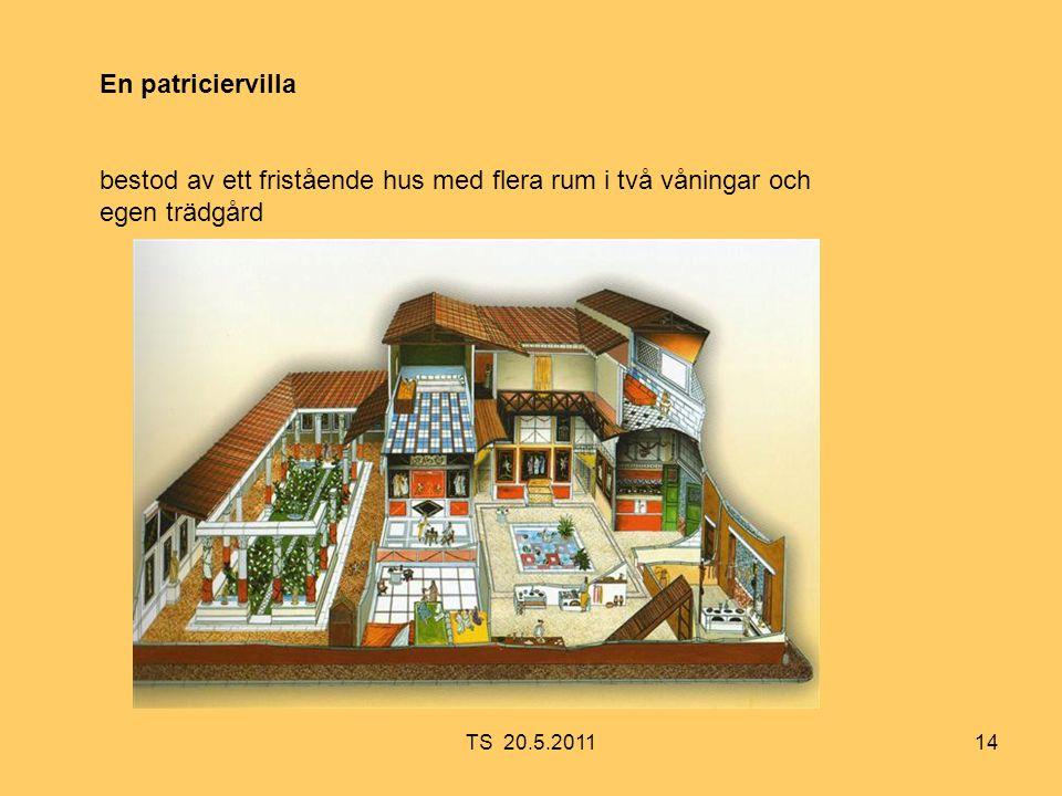 14 En patriciervilla bestod av ett fristående hus med flera rum i två våningar och egen trädgård TS 20.5.2011