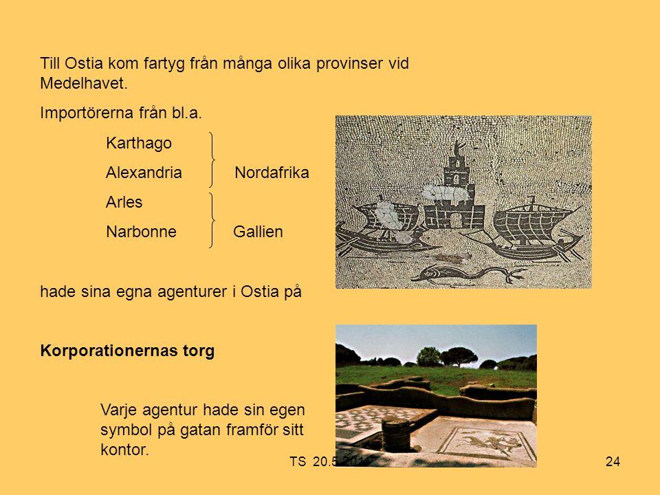 24 Till Ostia kom fartyg från många olika provinser vid Medelhavet.