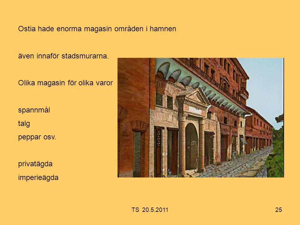 25 Ostia hade enorma magasin områden i hamnen även innaför stadsmurarna.