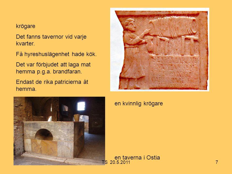 8 Tillfälliga arbeten gav uppehälle åt de allra fattigaste av plebejerna även dem som inte var romerska medborgare men flyttat in i Rom i hopp om bättre inkomst.