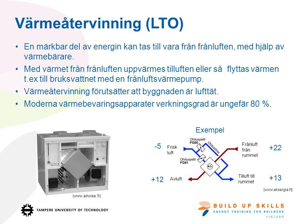 Värmeåtervinning (LTO) En märkbar del av energin kan tas till vara från frånluften, med hjälp av värmebärare.