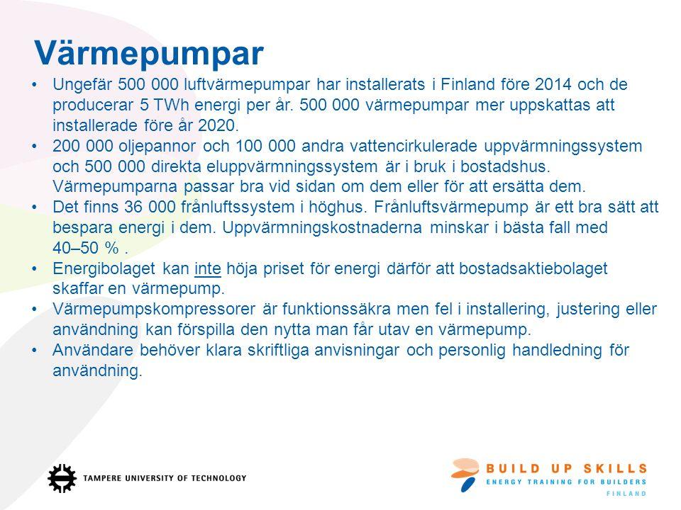 Värmepumpar Ungefär 500 000 luftvärmepumpar har installerats i Finland före 2014 och de producerar 5 TWh energi per år.
