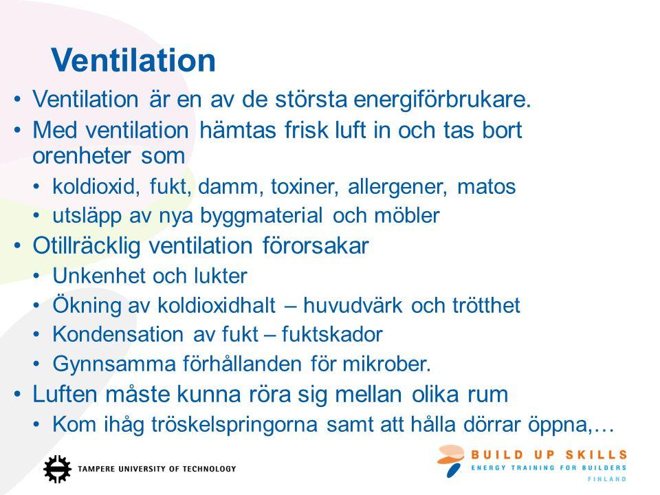Ventilation är en av de största energiförbrukare.