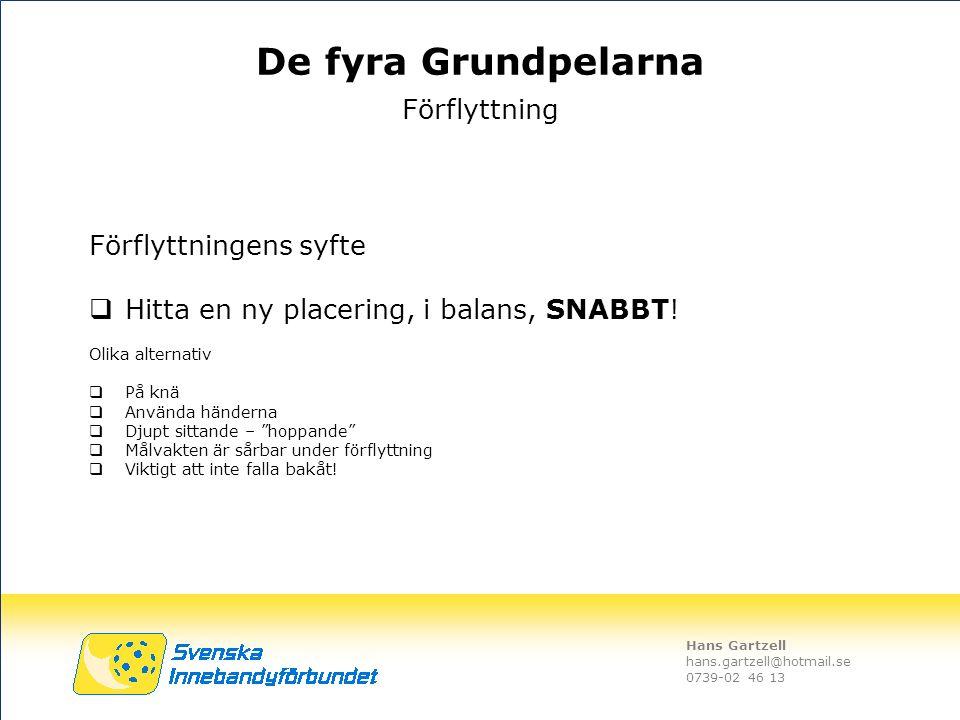Hans Gartzell hans.gartzell@hotmail.se 0739-02 46 13 Förflyttningens syfte  Hitta en ny placering, i balans, SNABBT! Olika alternativ  På knä  Anvä