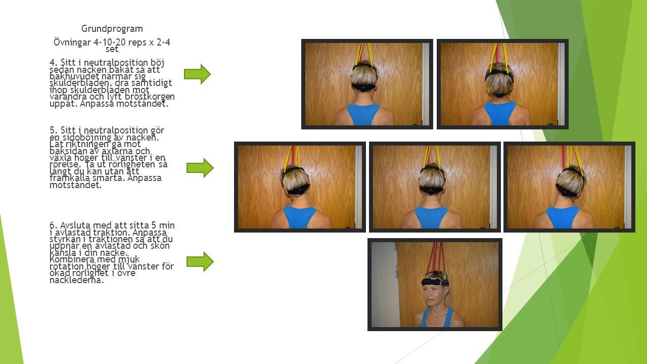 Grundprogram Övningar 4-10-20 reps x 2-4 set 4.
