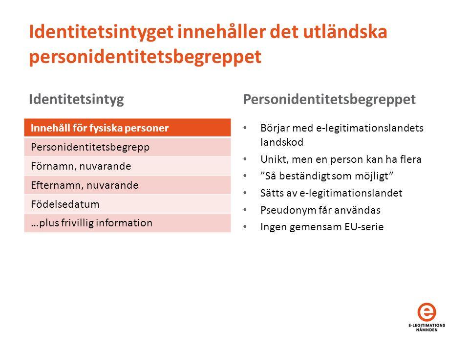 Identitetsintyget innehåller det utländska personidentitetsbegreppet Identitetsintyg Innehåll för fysiska personer Personidentitetsbegrepp Förnamn, nu