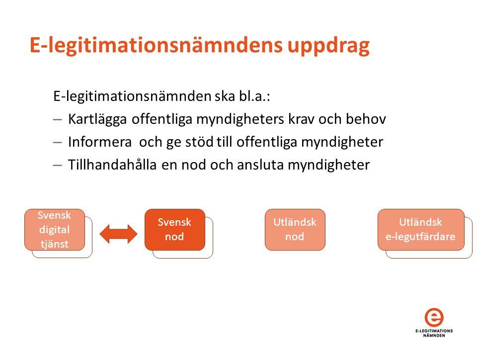 E-legitimationsnämndens uppdrag E-legitimationsnämnden ska bl.a.: – Kartlägga offentliga myndigheters krav och behov – Informera och ge stöd till offe