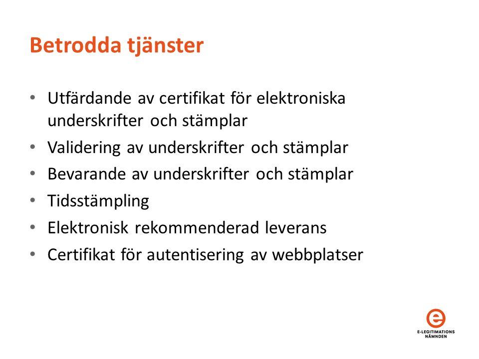 Betrodda tjänster Utfärdande av certifikat för elektroniska underskrifter och stämplar Validering av underskrifter och stämplar Bevarande av underskrifter och stämplar Tidsstämpling Elektronisk rekommenderad leverans Certifikat för autentisering av webbplatser