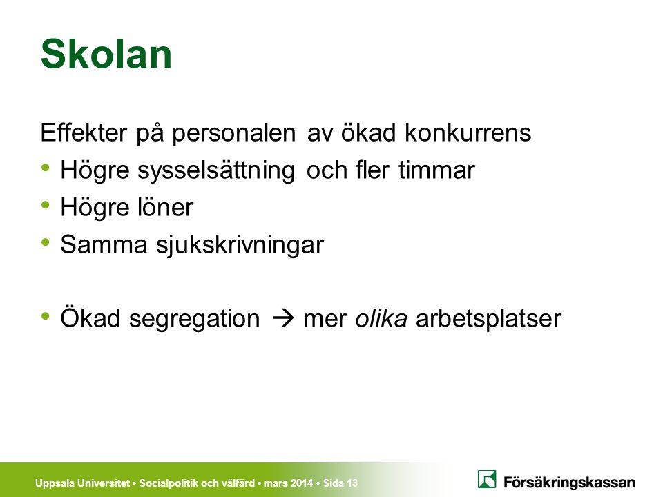 Uppsala Universitet Socialpolitik och välfärd mars 2014 Sida 13 Skolan Effekter på personalen av ökad konkurrens Högre sysselsättning och fler timmar