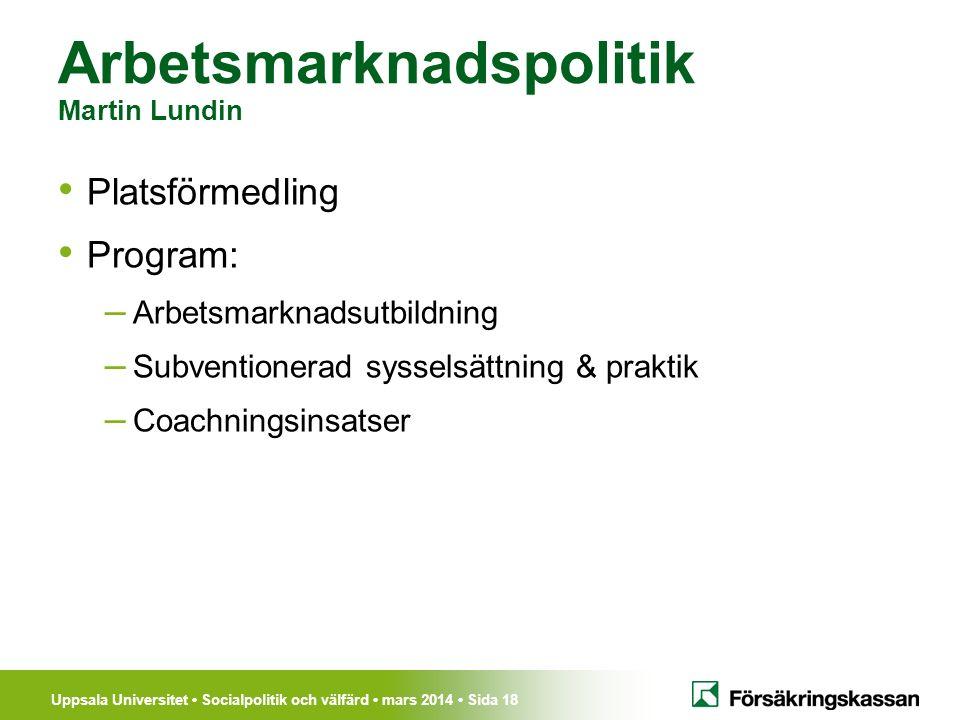 Uppsala Universitet Socialpolitik och välfärd mars 2014 Sida 18 Arbetsmarknadspolitik Martin Lundin Platsförmedling Program: – Arbetsmarknadsutbildnin