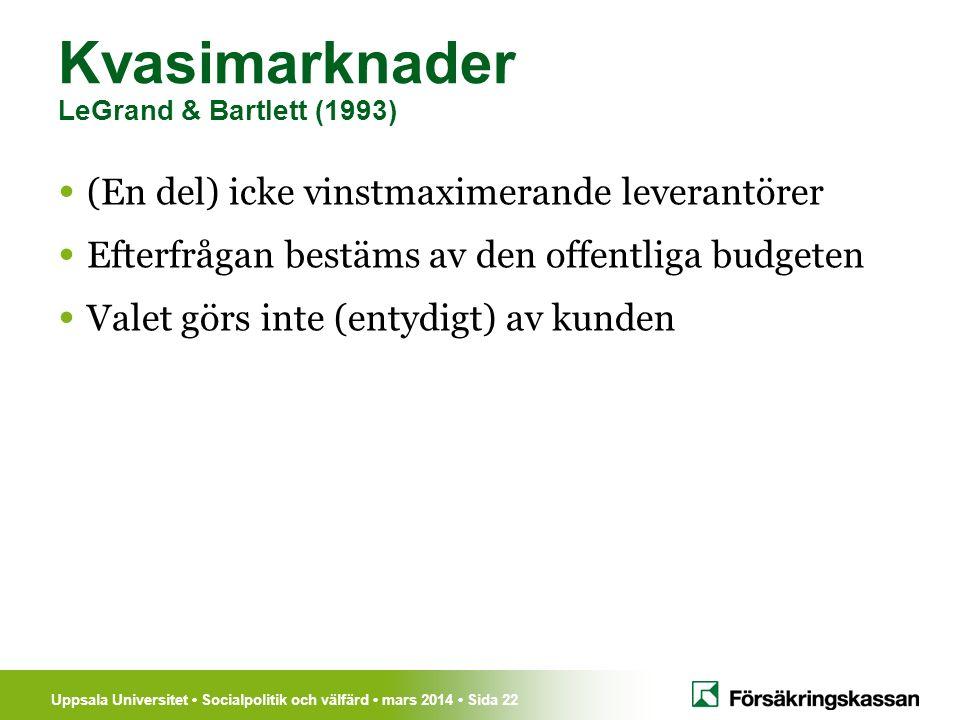Uppsala Universitet Socialpolitik och välfärd mars 2014 Sida 22 Kvasimarknader LeGrand & Bartlett (1993) (En del) icke vinstmaximerande leverantörer E