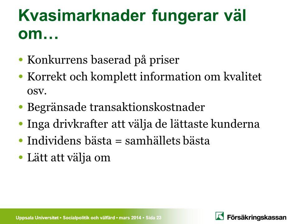 Uppsala Universitet Socialpolitik och välfärd mars 2014 Sida 23 Kvasimarknader fungerar väl om… Konkurrens baserad på priser Korrekt och komplett info
