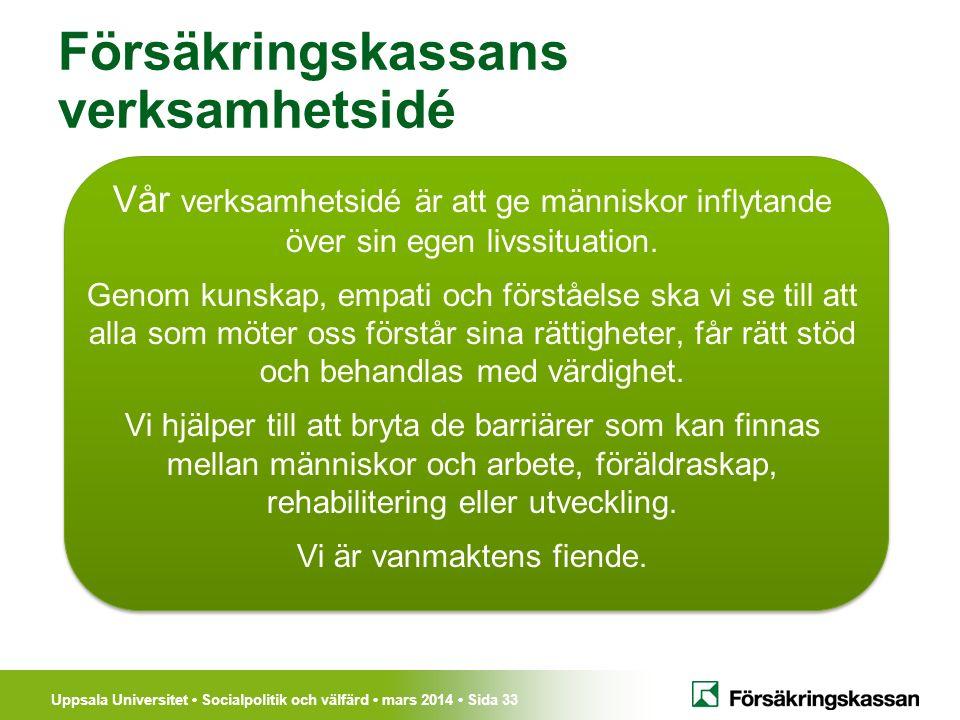 Uppsala Universitet Socialpolitik och välfärd mars 2014 Sida 33 Vår verksamhetsidé är att ge människor inflytande över sin egen livssituation. Genom k