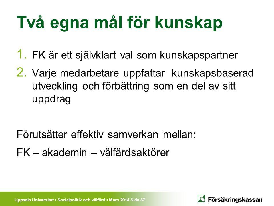 Uppsala Universitet Socialpolitik och välfärd Mars 2014 Sida 37 Två egna mål för kunskap 1. FK är ett självklart val som kunskapspartner 2. Varje meda