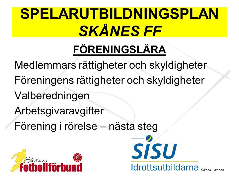 Roland Larsson SPELARUTBILDNINGSPLAN SKÅNES FF FÖRENINGSLÄRA Medlemmars rättigheter och skyldigheter Föreningens rättigheter och skyldigheter Valbered