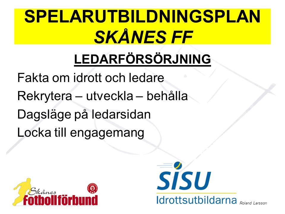 Roland Larsson SPELARUTBILDNINGSPLAN SKÅNES FF LEDARFÖRSÖRJNING Fakta om idrott och ledare Rekrytera – utveckla – behålla Dagsläge på ledarsidan Locka