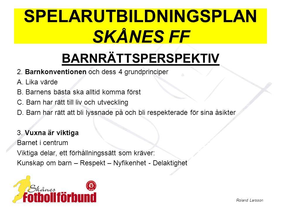 Roland Larsson SPELARUTBILDNINGSPLAN SKÅNES FF BARNRÄTTSPERSPEKTIV 2. Barnkonventionen och dess 4 grundprinciper A. Lika värde B. Barnens bästa ska al