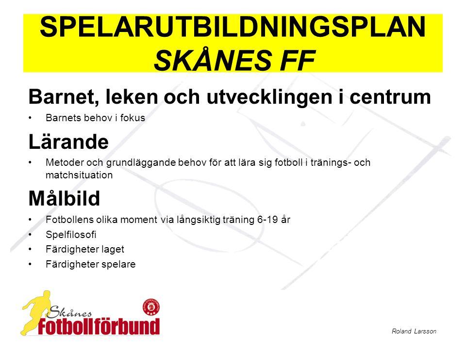 Roland Larsson SPELARUTBILDNINGSPLAN SKÅNES FF Planering Presentation av idé för god planering som underlättar och utvecklar verksamheten på lång sikt Fyra utvecklingsnivåer för träning och match 1.Fotbollsglädje6-9 år (exempelövningar) 2.Lära för att träna9-12 år (exempelövningar) 3.Träna för att lära12-15 år (exempelövningar) 4.Träna för att prestera15-19 år (exempelövningar)