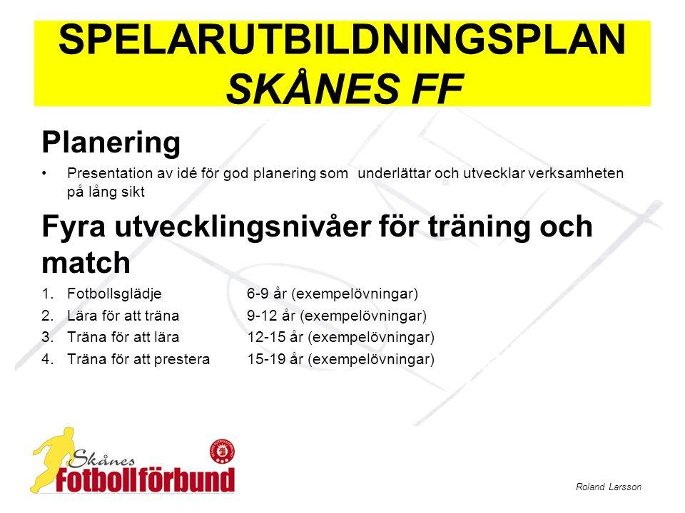 Roland Larsson SPELARUTBILDNINGSPLAN SKÅNES FF Planering Presentation av idé för god planering som underlättar och utvecklar verksamheten på lång sikt