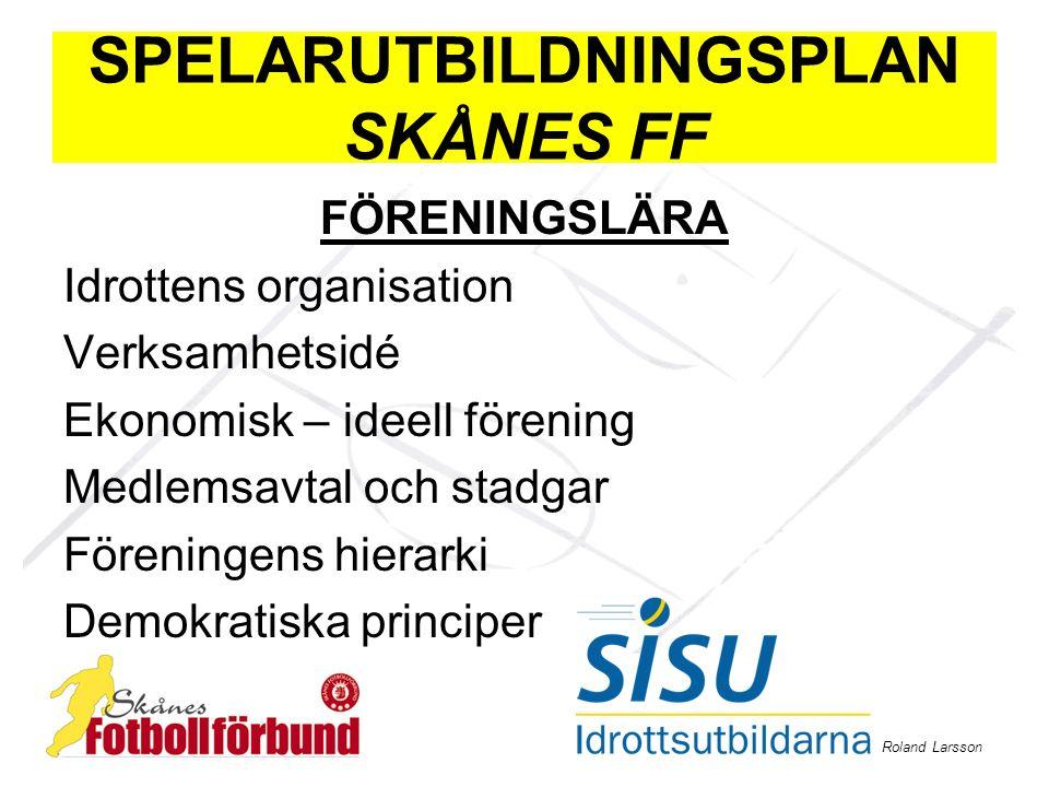 Roland Larsson SPELARUTBILDNINGSPLAN SKÅNES FF FÖRENINGSLÄRA Idrottens organisation Verksamhetsidé Ekonomisk – ideell förening Medlemsavtal och stadga