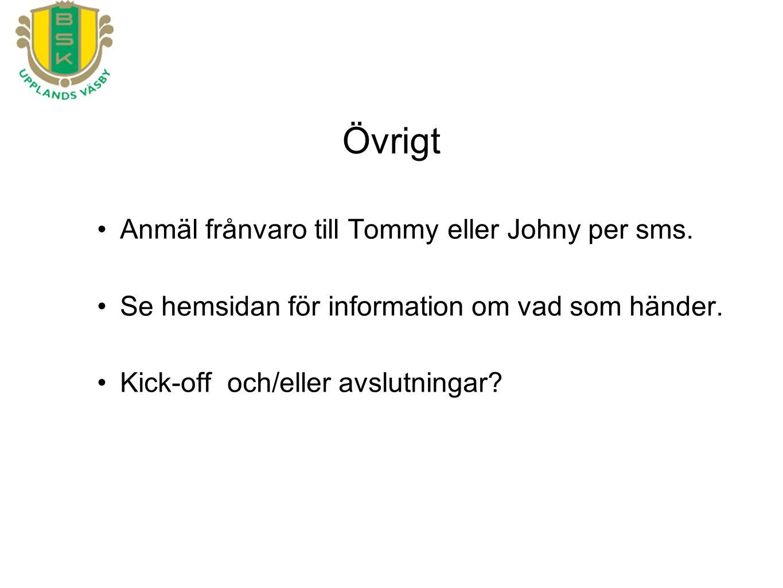 Anmäl frånvaro till Tommy eller Johny per sms. Se hemsidan för information om vad som händer. Kick-off och/eller avslutningar?